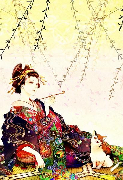 Tags: Anime, Tetsu420, Oiran, Tatami, Yuujo, Geisha, Pixiv, Mobile Wallpaper
