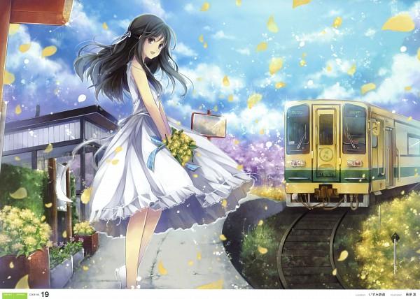 Tags: Anime, Hagiwara Rin, Tetsudou Shoujo Hyakkei, Peaceful, Railroad Tracks, Pixiv
