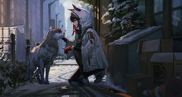 Tags: Anime, Pixiv Id 9888229, Arknights, Texas (Arknights), Caressing, Parka, Skyscraper, Puddle, Pixiv, Winter Messenger, Fanart From Pixiv, Fanart