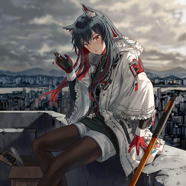 Tags: Anime, Silence Girl, Arknights, Texas (Arknights), Fanart From Pixiv, Winter Messenger, Pixiv, Fanart