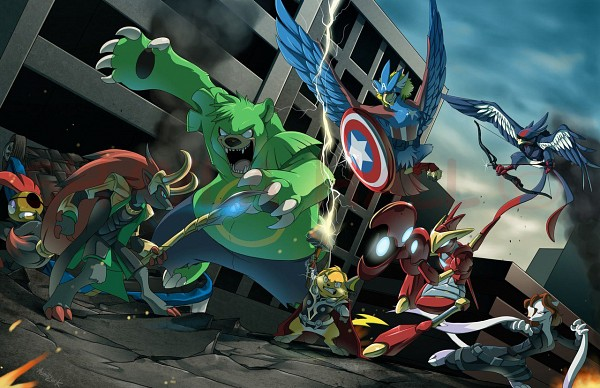 Tags: Anime, Pokémon, Braviary, Raichu, Zoroark, Mienshao, Scrafty, Swellow, Scizor, Ursaring, The Avengers (Parody), Artist Request