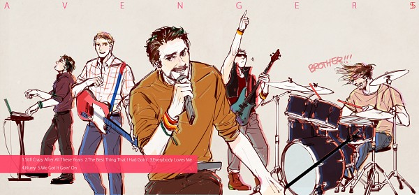 Tags: Anime, Pixiv Id 1186163, Iron Man, The Avengers, Hawkeye (Character), Bruce Banner, Steven Rogers, Thor Odinson, Keyboard (Instrument), Bass Guitar, Marvel, Fanart From Pixiv, Pixiv