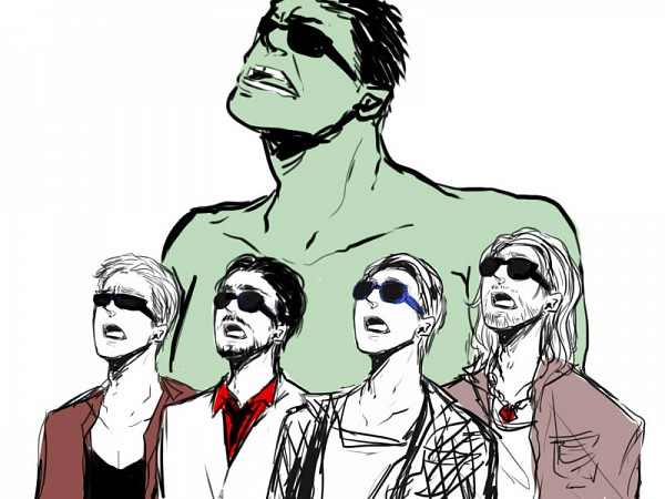 Tags: Anime, Pixiv Id 1609523, Iron Man, The Avengers, Anthony Edward Stark, Hawkeye (Character), Thor Odinson, Steven Rogers, Hulk, Silly Faces, Marvel, Fanart From Pixiv, Pixiv
