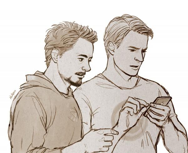 Tags: Anime, Iron Man, The Avengers, Captain America, Anthony Edward Stark, Steven Rogers, Confused, iPhone, Marvel