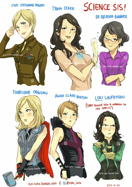 Tags: Anime, Pinkstripedmellon, Iron Man, Thor (Film), The Avengers, Thor Odinson, Loki Laufeyson, Anthony Edward Stark, Lady Loki, Hawkeye (Character), Natasha Stark, Bruce Banner, Steven Rogers