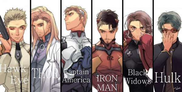 Tags: Anime, Pixiv Id 10589702, Iron Man, The Avengers, Anthony Edward Stark, Hawkeye (Character), Black Widow, Bruce Banner, Captain America, Steven Rogers, Thor Odinson, Iron Man (Character), Neon Genesis Evangelion (Cosplay)