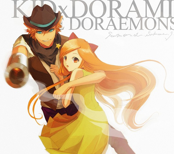 Tags: Anime, Pixiv Id 31249, Doraemon, The Doraemons, Dora-the-kid (Personification), Dorami (Personification), Cowboy, Protecting, Western, Pixiv