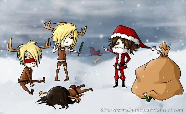 Tags: Anime, Reita (The GazettE), Uruha (The GazettE), Ruki (The GazettE), Aoi (The GazettE), Sled, Reindeer Costume, deviantART, The GazettE
