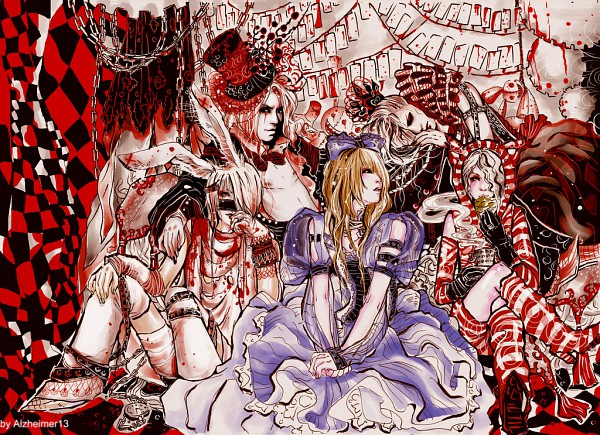 Tags: Anime, Alzheimer13, Alice in Wonderland, Uruha (The GazettE), White Rabbit, Mad Hatter, Ruki (The GazettE), Reita (The GazettE), Cheshire Cat, Kai (The GazettE), Queen of Hearts, Aoi (The GazettE), Alice (Alice in Wonderland)