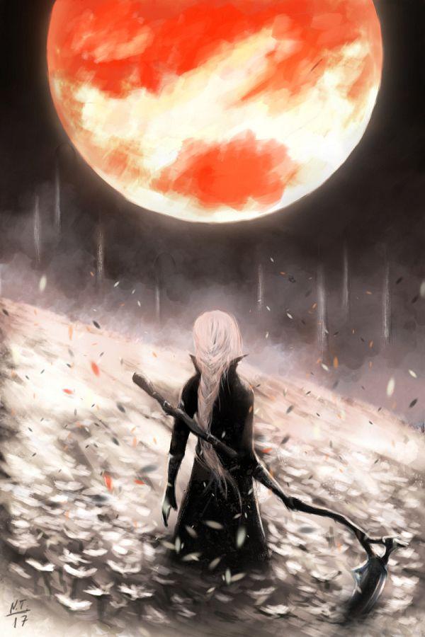 Tags: Anime, Natalia Tseitlina, Bloodborne, The Hunter (Bloodborne), 2:3 Ratio, Red Moon, 800x1200 Wallpaper, Fanart, ArtStation, Fanart From Pixiv, Pixiv, Wallpaper