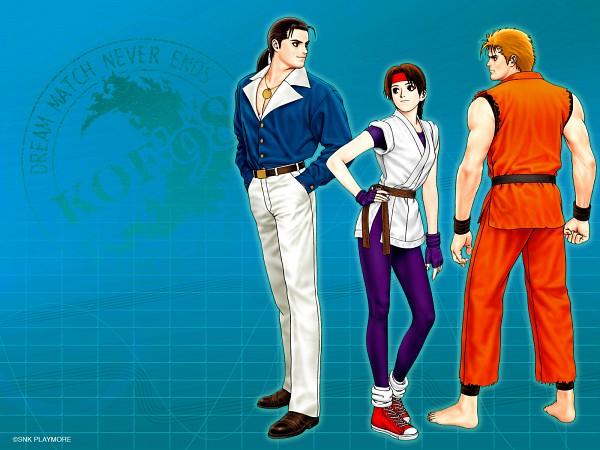 Tags: Anime, SNK Playmore, Art of Fighting, The King of Fighters, Sakazaki Yuri, Robert Garcia, Sakazaki Ryo, Purple Gloves, Gi, Purple Handwear, Wallpaper, Artist Request