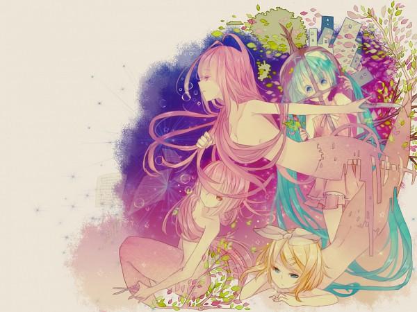 Tags: Anime, Makishimu, VOCALOID, Nekomura Iroha, Hatsune Miku, Megurine Luka, Kagamine Rin, Colour Contrasts, Disappearing, Wallpaper, Pixiv, Fanart, The Little Mermaid (VOCALOID)