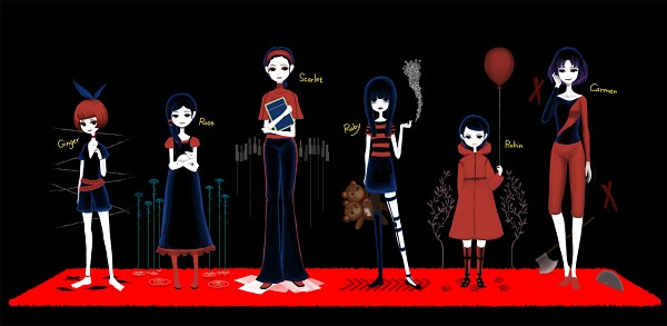 Tags: Anime, Nona Drops, The Path (Game), Rose (The Path), Scarlet (The Path), Ruby (The Path), Carmen (The Path), Ginger (The Path), Robin (The Path), Teenager, Fanart, Pixiv, Facebook Cover