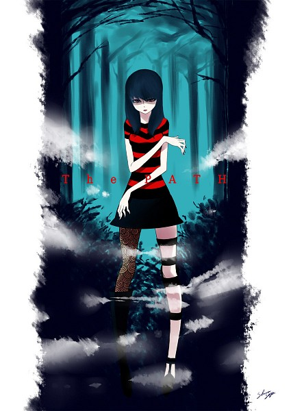 Tags: Anime, Pixiv Id 527023, The Path (Game), Ruby (The Path), Striped T-shirt, Fog, Pixiv, Fanart, Fanart From Pixiv
