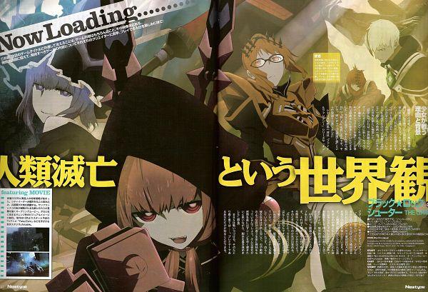 Tags: Anime, SANZIGEN, Black★Rock Shooter, LLWO, XNFE, SZZU, MEFE, MZMA, Scan, Official Art, Magazine (Source), Newtype Magazine (Source), The Seven Apostles