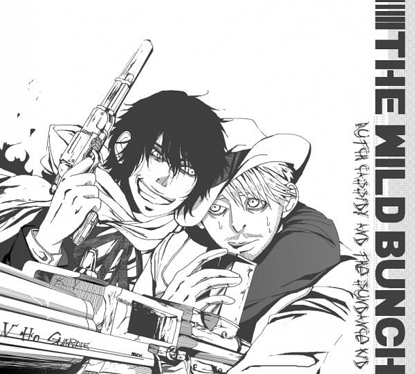 Tags: Anime, Pixiv Id 1156015, Sundance Kid, Butch Cassidy, Stubble, The Wild Bunch, Fedora, Machine Gun, Fanart, Pixiv, Fanart From Pixiv
