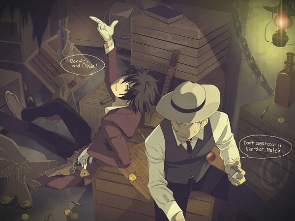 Tags: Anime, Pixiv Id 1819826, Drifters (Manga), Butch Cassidy, Sundance Kid, The Wild Bunch, Fedora, Pixiv, Fanart, Fanart From Pixiv