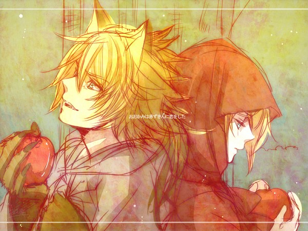 Tags: Anime, Suzunosuke, VOCALOID, Kagamine Len, Kagamine Rin, Red Riding Hood (Cosplay), Big Bad Wolf (Cosplay), Fanart, The Wolf that Fell in Love with Red Riding Hood, Kagamine Mirrors