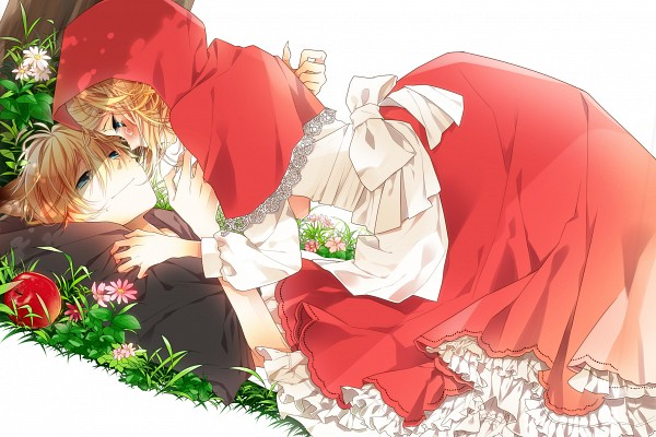 Tags: Anime, Naoto (Tulip), VOCALOID, Kagamine Len, Kagamine Rin, Red Riding Hood (Cosplay), Lace Trim, Big Bad Wolf (Cosplay), The Wolf that Fell in Love with Red Riding Hood, Fanart From Pixiv, Fanart, Pixiv, Kagamine Mirrors