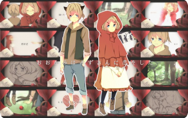 Tags: Anime, Hachi8382, Red Riding Hood, VOCALOID, Kagamine Rin, Kagamine Len, Picnic Basket, Big Bad Wolf (Cosplay), Red Riding Hood (Cosplay), The Wolf that Fell in Love with Red Riding Hood, Pixiv, Kagamine Mirrors