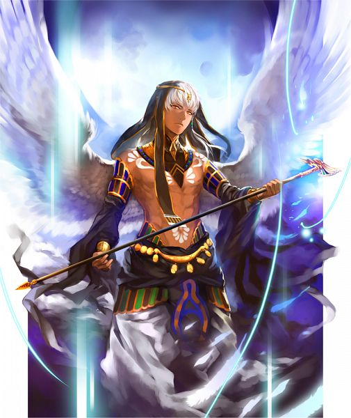Tags: Anime, mori (Pixiv1882150), Kamigami no Asobi, Thoth Caduceus, God, Afghani Pants, Baggy Pants, Egyptian Clothes, Pixiv, Fanart, Fanart From Pixiv