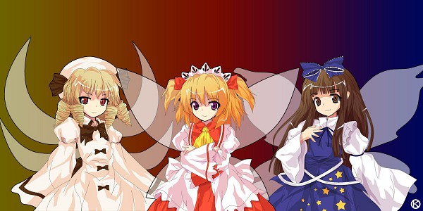 Tags: Anime, Kaoru (Gensou Yuugen-an), Touhou, Luna Child, Star Sapphire, Sunny Milk, Brown Bow, Alphes (Style), Three Mischievous Fairies
