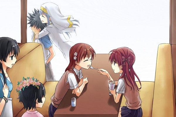 Tags: Anime, Pixiv Id 2214043, To Aru Majutsu no Index, To Aru Kagaku no Railgun, Uiharu Kazari, Kamijou Touma, Shirai Kuroko, Misaka Mikoto, Saten Ruiko, Index, A Certain Scientific Railgun
