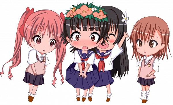 Tags: Anime, Kuena, To Aru Kagaku no Railgun, To Aru Majutsu no Index, Shirai Kuroko, Misaka Mikoto, Saten Ruiko, Uiharu Kazari, Fanart, Pixiv, Wallpaper, A Certain Scientific Railgun