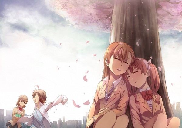 Tags: Anime, Pixiv Id 2214043, To Aru Majutsu no Index, Last Order, Shirai Kuroko, Misaka Mikoto, Misaka Imouto, Under A Tree, A Certain Magical Index