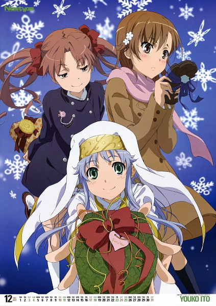 Tags: Anime, Itou Youko, J.C.STAFF, To Aru Majutsu no Index, Shirai Kuroko, Misaka Mikoto, Index, Official Art, Scan, Magazine (Source), Calendar (Source), Mobile Wallpaper, A Certain Magical Index