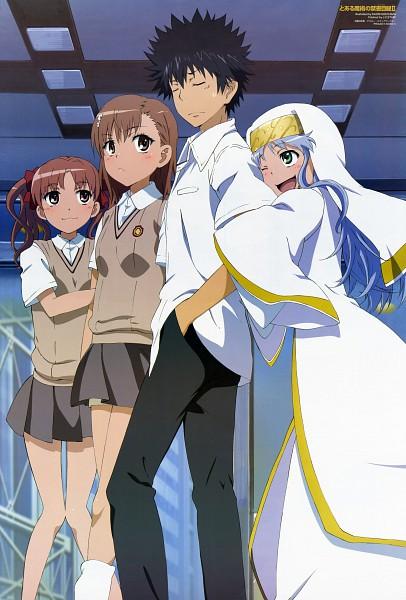 Tags: Anime, Hokiyama Kaori, J.C.STAFF, To Aru Majutsu no Index, Shirai Kuroko, Misaka Mikoto, Index, Kamijou Touma, Mobile Wallpaper, Official Art, A Certain Magical Index
