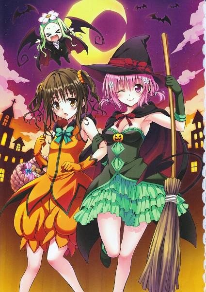 Tags: Anime, Yabuki Kentarou, To LOVE-Ru, Momo Velia Deviluke, Celine (To LOVE-Ru), Yuuki Mikan, Puffy Shorts, >O<, Scan, Official Art, Mobile Wallpaper
