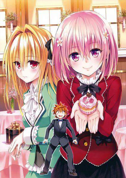 Tags: Anime, Yabuki Kentarou, To LOVE-Ru, Harem Gold: To LOVE-Ru Darkness Art Works, Yuuki Rito, Momo Velia Deviluke, Konjiki no Yami, Scan, Official Art, Mobile Wallpaper