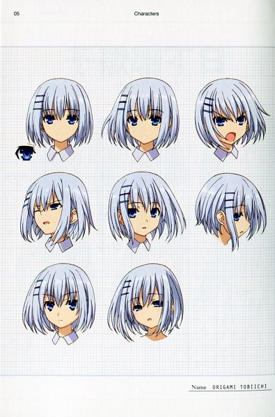 Tags: Anime, Ishino Satoshi, Date A Live, Tobiichi Origami, Official Art, Character Sheet, Scan