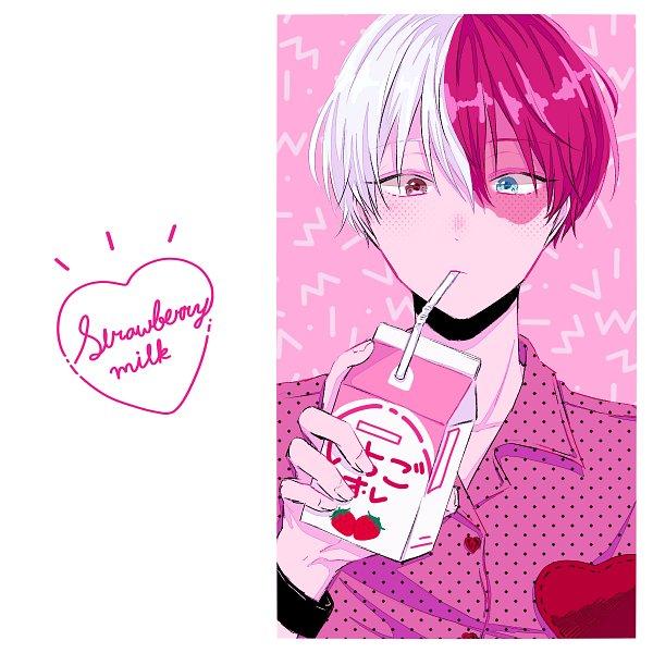 Tags: Anime, Pixiv Id 12087648, Boku no Hero Academia, Todoroki Shouto, Strawberry Milk, Milk, Fanart From Pixiv, Pixiv, Fanart