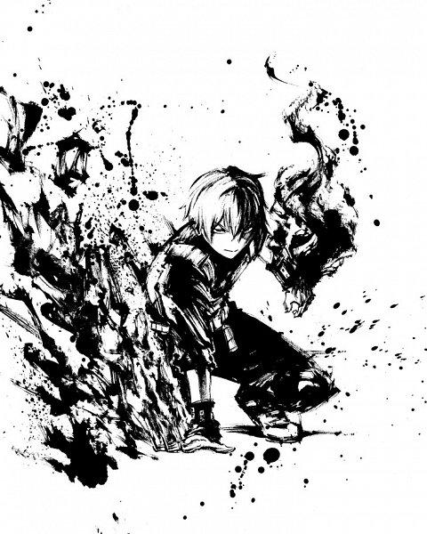Tags: Anime, BONES (Studio), Boku no Hero Academia, Todoroki Shouto, Sumi-e, Official Art, Line Art