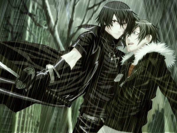 Tags: Anime, Nitro+CHiRAL, Togainu no Chi, Shiki (TNC), Akira (TNC), Parka, CG Art, Blood Of The Reprimanded Dog