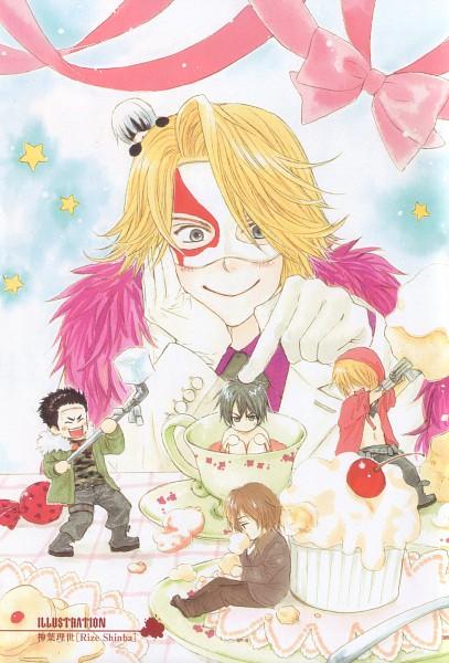 Tags: Anime, Nitro+CHiRAL, Togainu no Chi, Gunji, Arbitro, Akira (TNC), Nano (TNC), Kau, Kiriwar (TNC), Scan, Mobile Wallpaper, Blood Of The Reprimanded Dog