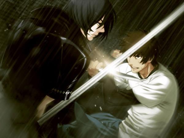Tags: Anime, Nitro+CHiRAL, Togainu no Chi, Shiki (TNC), Keisuke (TNC), Leather Jacket, CG Art, Blood Of The Reprimanded Dog