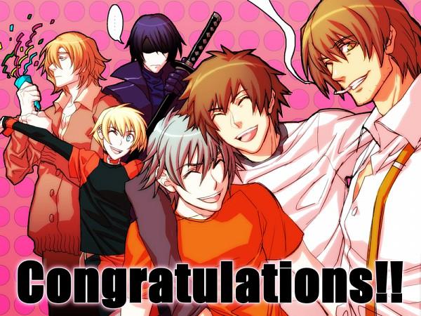 Tags: Anime, Nitro+CHiRAL, Togainu no Chi, Rin (TNC), Nano (TNC), Shiki (TNC), Keisuke (TNC), Akira (TNC), Motomi (TNC), Leather Clothes, Leather Jacket, Party, Blood Of The Reprimanded Dog