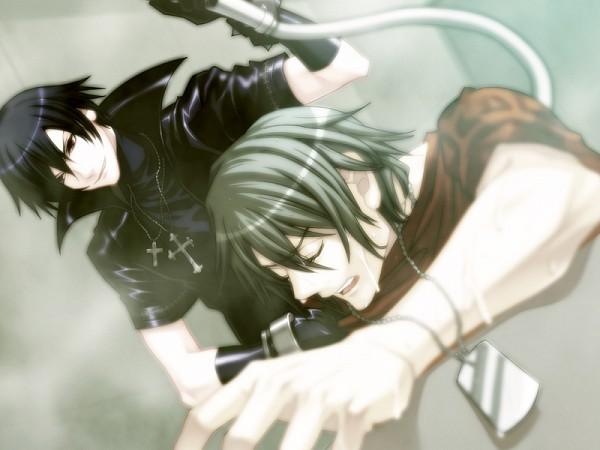 Tags: Anime, Nitro+CHiRAL, Togainu no Chi, Akira (TNC), Shiki (TNC), Leather Jacket, CG Art, Blood Of The Reprimanded Dog
