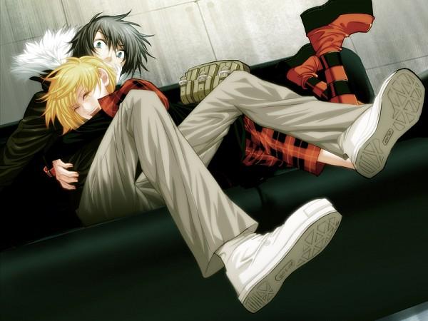 Tags: Anime, Nitro+CHiRAL, Togainu no Chi, Rin (TNC), Akira (TNC), Surprise Hug, CG Art, Blood Of The Reprimanded Dog