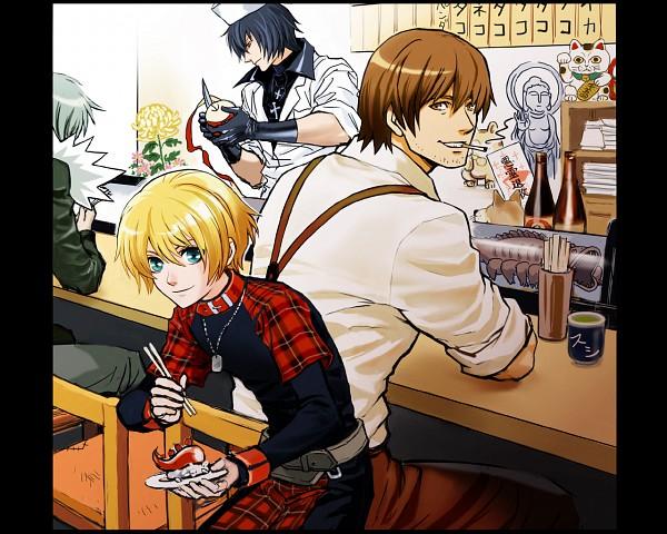 Tags: Anime, Nitro+CHiRAL, Togainu no Chi, Akira (TNC), Motomi (TNC), Rin (TNC), Shiki (TNC), Maneki Neko, Statue, Sushi, Wallpaper, Blood Of The Reprimanded Dog