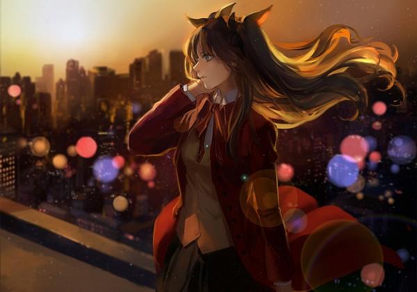 Tags: Anime, Achyue, Fate/stay night, Tohsaka Rin, Skyscraper, Fanart, Fanart From Pixiv, Pixiv, Rin Tohsaka