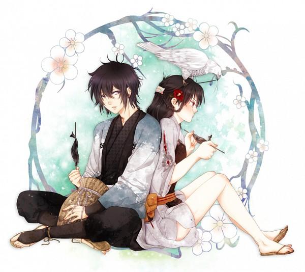 Tags: Anime, Pixiv Id 1394647, IDEA FACTORY, Toki no Kizuna, Suzumori Yukina, Kazuya (Toki no Kizuna), Hawk, Pixiv, Bond Of Ten Demons