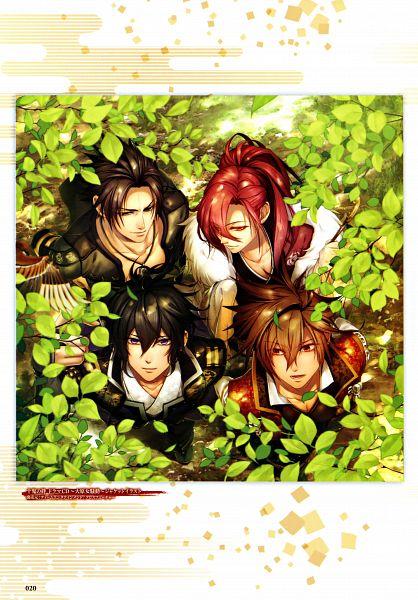 Tags: Anime, miko (Artist), IDEA FACTORY, Toki no Kizuna Official Fanbook ~Sekigahara Kitan~, Toki no Kizuna, Kazutake, Kazuya (Toki no Kizuna), Chitose (Toki no Kizuna), Shin (Toki no Kizuna), Official Art, Mobile Wallpaper, Scan, CD (Source), Bond Of Ten Demons