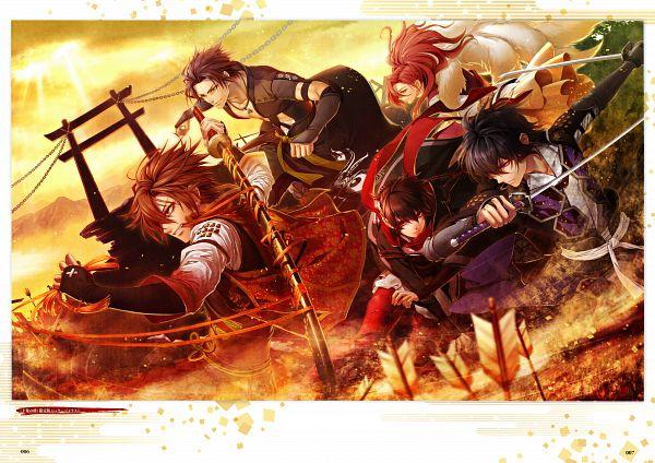 Tags: Anime, miko (Artist), IDEA FACTORY, Toki no Kizuna Official Fanbook ~Sekigahara Kitan~, Toki no Kizuna, Kazuya (Toki no Kizuna), Chitose (Toki no Kizuna), Shin (Toki no Kizuna), Suzumori Yukina, Kazutake, Scan, Official Art, Bond Of Ten Demons