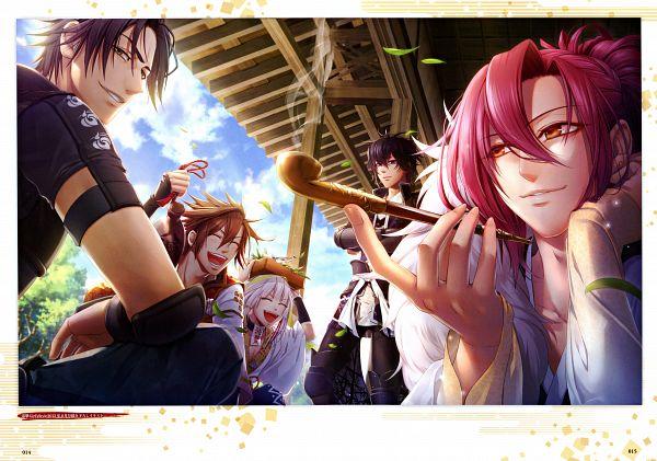 Tags: Anime, miko (Artist), IDEA FACTORY, Toki no Kizuna Official Fanbook ~Sekigahara Kitan~, Toki no Kizuna, Shin (Toki no Kizuna), Kazutake, Kazuya (Toki no Kizuna), Senkimaru, Chitose (Toki no Kizuna), Official Art, Scan, Bond Of Ten Demons
