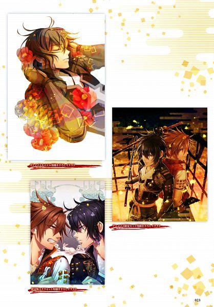 Tags: Anime, miko (Artist), IDEA FACTORY, Toki no Kizuna Official Fanbook ~Sekigahara Kitan~, Toki no Kizuna, Kazuya (Toki no Kizuna), Chitose (Toki no Kizuna), Official Art, Scan, Mobile Wallpaper, Bond Of Ten Demons