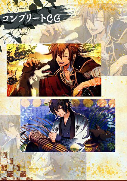 Tags: Anime, miko (Artist), IDEA FACTORY, Toki no Kizuna Official Fanbook ~Sekigahara Kitan~, Toki no Kizuna, Kazuya (Toki no Kizuna), Chitose (Toki no Kizuna), Mobile Wallpaper, Official Art, Scan, Bond Of Ten Demons